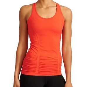 Athleta Fastest Track Tank Orange Ruched Racerback